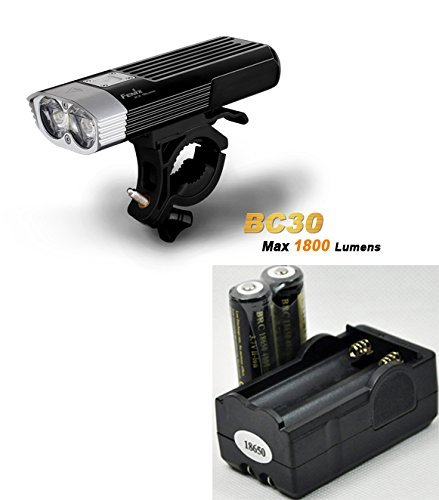 Bundle: Fenix BC30 1800 Lumen LED Bike Light, Dual Distance Beam Bicycle Flashlight with two LegionArms 18650 Rechargeable Batteries and Charger