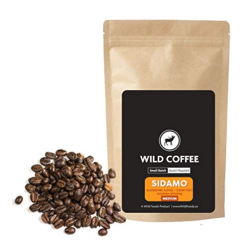 Wild Coffee, Organic Austin Roasted Small-Batch Whole Bean, 100% Arabica, Fair Trade, Single-Origin, Low Acid, Grade 1 (Sidamo Medium, 5 pound)