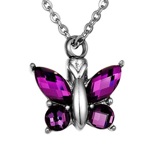 Valyria Cremation Jewelry Flying Butterfly Urn Pendant Keepsake Memorial Necklace (Purple)