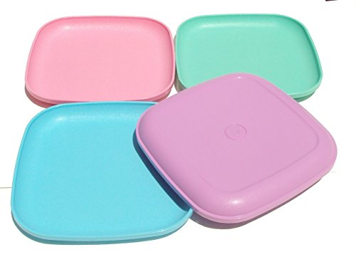 Tupperware Square 8 Inch Luncheon Plates Spring Pastels Set of 4