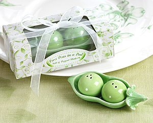 Two Peas in a Pod - Ceramic Salt & Pepper Shakers in Ivy Print Gift Box (Set of -