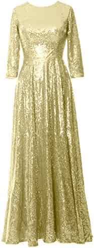 f9b29f7942 MACloth Women 3 4 Sleeves Sequin Formal Evening Gown Long Mother of Bride  Dress