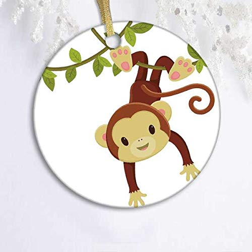 128 buyloii Nursery,Cute Cartoon Monkey Hanging on Liana Playful Safari Character Cartoon Mascot,Brown Green Pink Round Xmas Gifts Christmas Tree Ornaments Ideas 2019 (Ornament Christmas Tree Ideas)