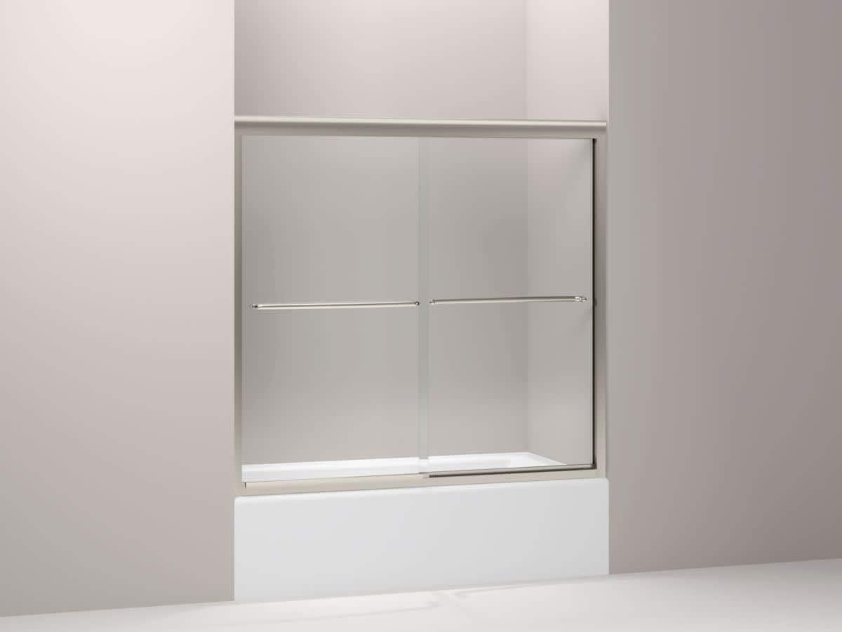 KOHLER K-702202-L-MX Fluence Frameless Bypass Bath Door, Matte Nickel