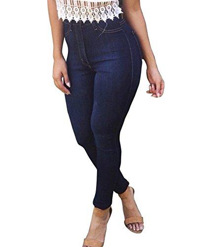 Vaqueros Cintura Alta Jeans Mujer Pantalones Azul Skinny Elástico q1vHz