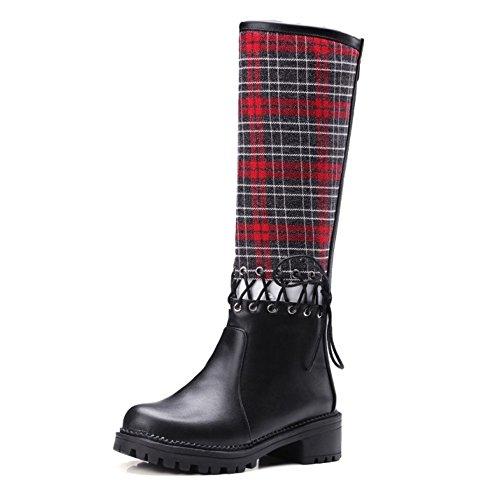 COOLCEPT Damen Mode-Event Flach Schnürung Stiefeletten Reißverschluss Hohen Absätzen über kniehohe Stiefel Rot