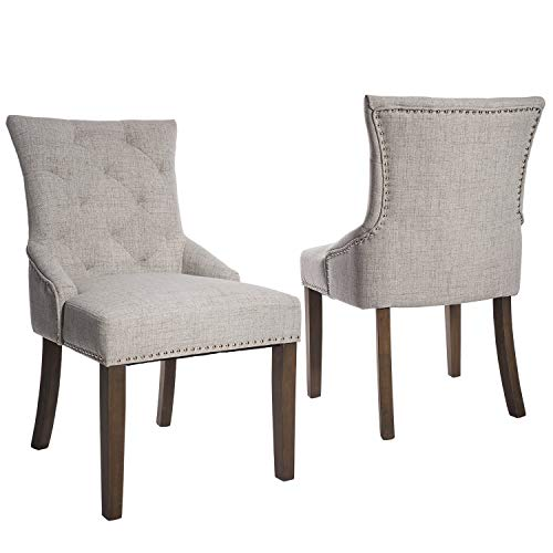 Decor Upholstery Fabric - Merax WF010762 Dining Chair with Armrest, Nailhead Trim, Linen Upholstery Set of 2 (Gray)