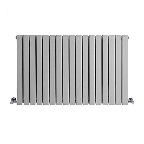 Hudson Reed - Sloane - Modern Designer Double Flat Panel Horizontal Radiator In Light Gray Finish - 25