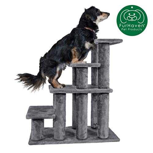 Furhaven Pet Stairs | Steady Paws Easy Multi-Step Pet Stairs Assist Ramp for Dogs & Cats, Gray, 4-Step