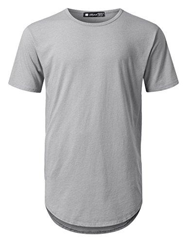 URBANCREWS Mens Hipster Hip Hop Basic Poly Cotton Longline T-Shirt Hgray, XL by URBANCREWS