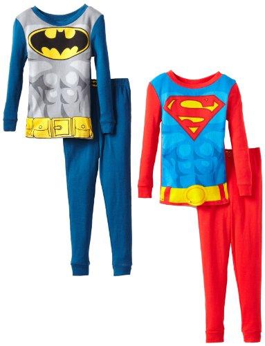 Komar Kids Boys 4-10 Superman Batman 4 Piece Pajama Set