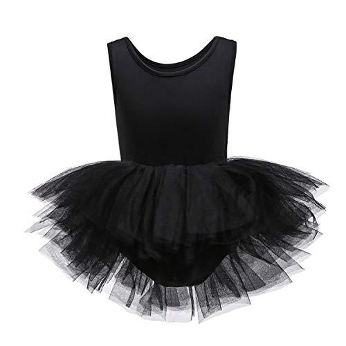 JiaDuo Girls Dance Tutu Dress Skirted Sleeveless Leotard Black XS