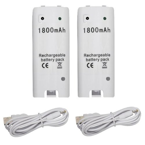 Wii Controller Replacement Rechargeable Batteries for Wii Remote Control, White - 2 Pack