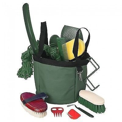 Tough 1 12 Piece Hunter Green Show Time Groomers Set with Tote Bag Horse Tack ()