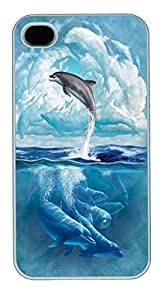 IPhone 4S Cases Dolphin Sky Polycarbonate Hard Case Back Cover for iPhone 4/4S White