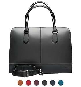Su.B.dgn 15.6 Inch Laptop Bag with Trolley Strap for Women   Split Leather   Professional Designer Briefcase, Handbag, Messenger Bag   Black - Made in Italy