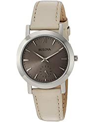 Bulova Womens Quartz Stainless Steel and Leather Casual Watch, Color:Beige (Model: 96L233)