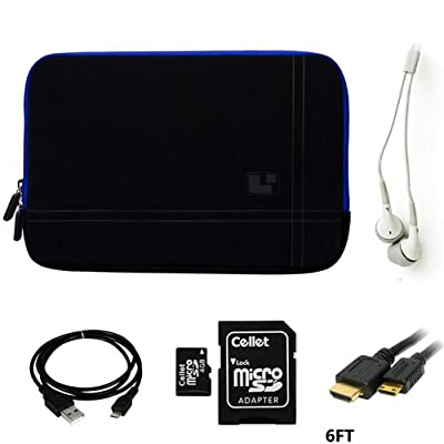 Micro-Suede Blue Trim Carrying Sleeve For ViewSonic ViewPad 10e 10 inch + HDIM Gold Cable+ USB Sync Cable+ WHITE HD Earbuds+ 4GB Memory Card