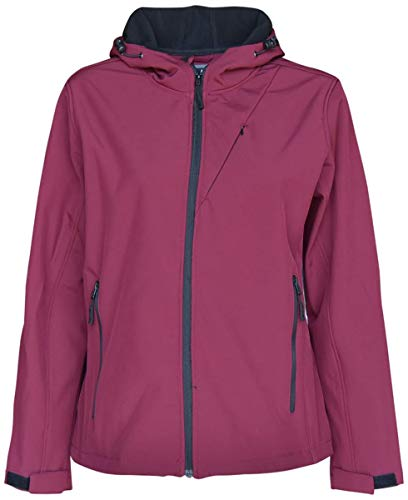Pulse Womens Extended Plus Size Soft Shell Hooded Jacket (Ruby, 2X (20/22))