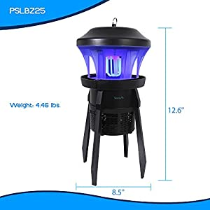 SereneLife Waterproof Bug Zapper Outside, Electric Pest Repeller, Electronic Insect Killer, UV Light, Eco Friendly, 330+ Feet, Indoor/Outdoor, Great For Flies, Mosquitoes, Beatles, Moths (PSLBZ25)