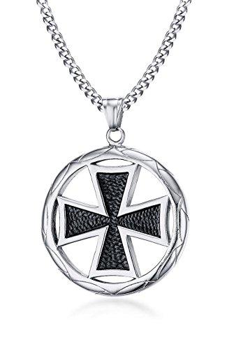 Stainless Steel Vintage Round Maltese Cross Pendant Pendant for Men, 24