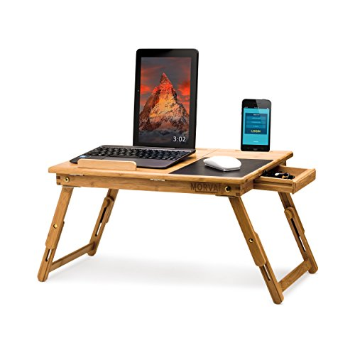 MORVAT Bed Desk for Laptop with Built in Mouse Pad, Adjustable Laptop Tray for Bed, Writing Desk, Lap Desk, Laptop Desk, Tray Table - Tilting Shelf with Magnetic Drawer, 100% Natural Bamboo Wood - Hinged Door Table