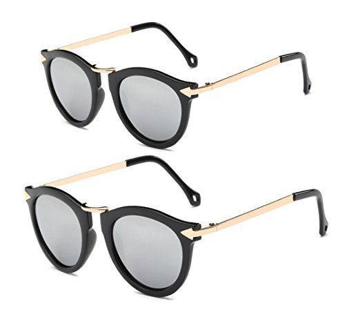 Price comparison product image GAMT Metal Arrow Family Sunglasses sets for Boys and Girls UV Children's Glasses 2 Pairs for Children and Adult gray