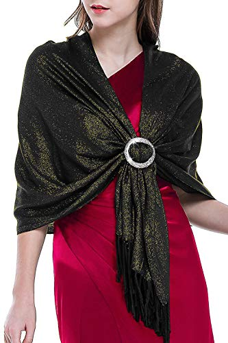 Shawls and Wraps for Evening Dresses Wedding Wrap Shawl Glitter Metallic Prom Party Fringe Scarf for Women Black Gold