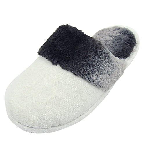 Home Slipper Womens Winter Warm Flannel Long Plush Fleece Indoor House Slippers Clogs White