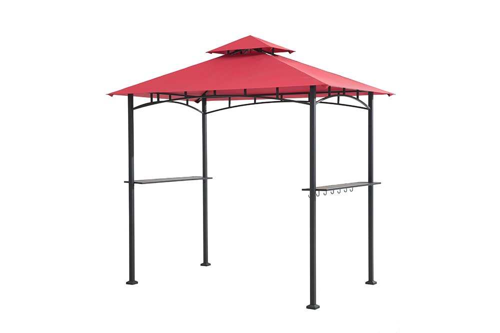 Sunjoy 8' x 5' Sylvan Soft top Grill Gazebo, Red Canopy