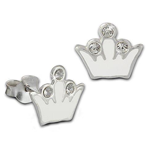Teenie-Weenie Boucles d'oreilles - boucles d'oreilles couronne blanc - argent sterling 925 pour enfants - SDO8105W