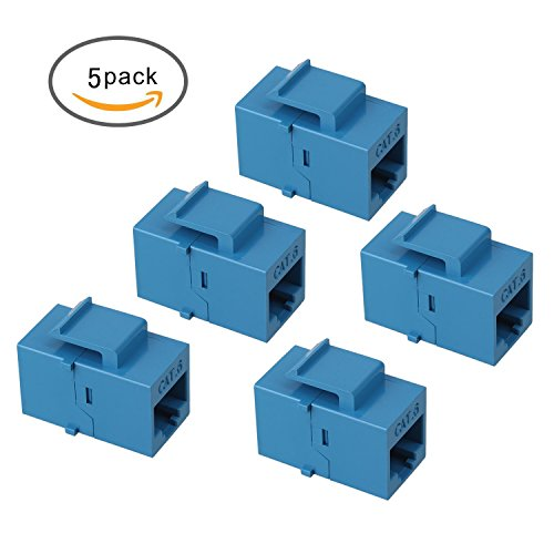 Housing Insert Modular (Maxmoral 5-Pack CAT6 Keystone Coupler, RJ45 UTP Coupler Insert - Snap-in Connector Socket Adapter Port for Wall Plate Outlet Panel - Blue)