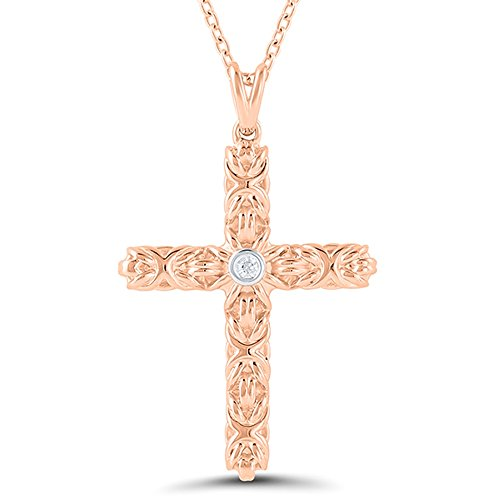 14K Rose Gold Plated Diamond Byzantine Cross Pendant - Cross Byzantine 14k
