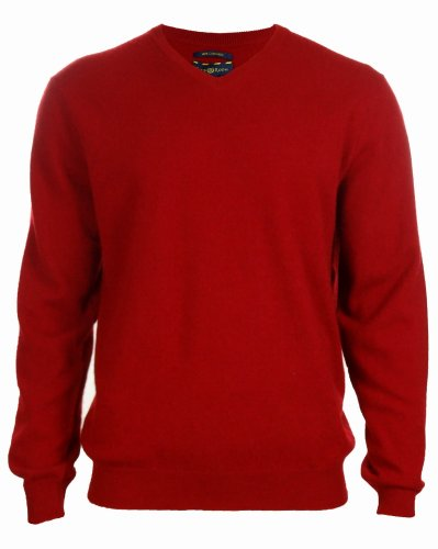 Men's 100% Cashmere Solid V-Neck Sweater (L, Regatta Red) by Club Room (Image #1)
