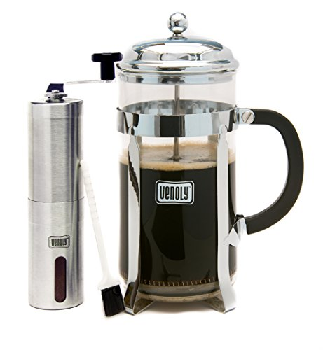 Venoly 34oz French Press Coffee Maker and Instant Coffee Grinder Set | Quality Food Grade Safe