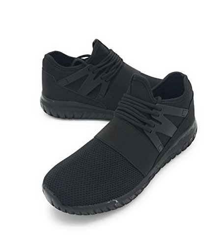 EASY21 Lady Breathable Fashion Slip-On Athletic Sports Shoes,All Black99, 7.5