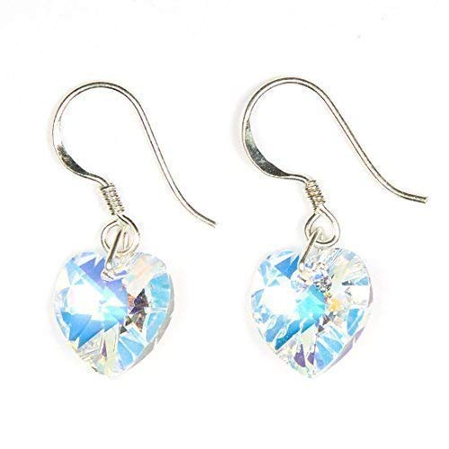 0cabf6239749c SALE Clear Ab Swarovski Crystal Heart Drop Earrings