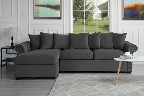 Sofa Sectional Modern Ultra (Modern Large Tufted Velvet Sectional Sofa, Scroll Arm L-Shape Couch (Dark Grey))