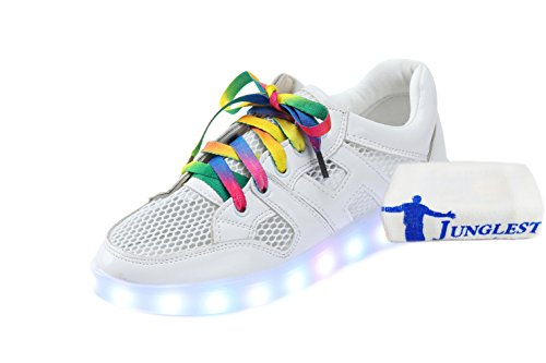 [+Small towel]Summer network models Colorful LED USB charging shoes breathable shoes luminous fluorescent shoes couple models men and c0 m6B5GGr