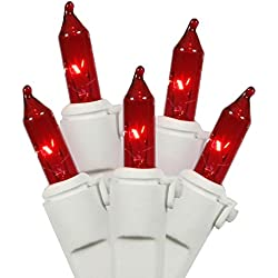 "Vickerman Mini Light Set Features 100 Bulbs Lights on White Wire and 4"" Bulb Spacing for Indoor/Outdoor Use, 33', Red"