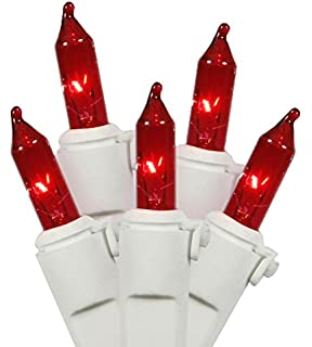 Amazon.com: Vickerman 100 Red Mini Christmas Lights - White Wire ...