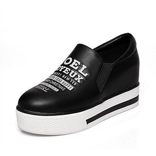 AllhqFashion Mujer Tacón medio Material mezclado PU Puntera Redonda ZapatosdeTacón Slip-on Negro