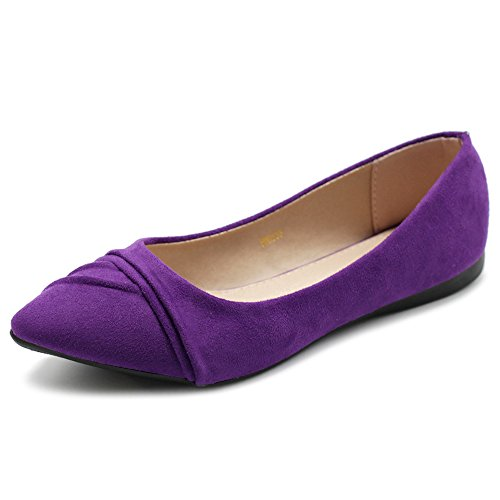 Ollio Women's Shoe Ballet Dress Faux Suede Pleated Pointed Toe Flat 1BN1833 (9 B(M) US, Purple) -