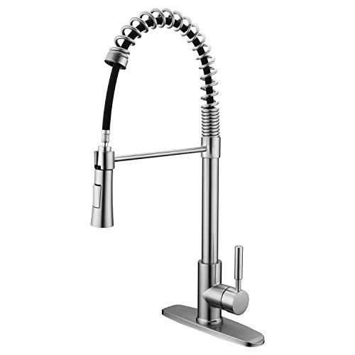 Contemporary Single Lever Tap - Homelody Brushed Nickel Pull Out Sprayer Single Handle Kitchen Faucet, High Arch Spring Single Lever Pull Down Kitchen Sink Faucets With Deck Plate