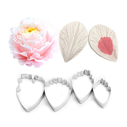 AK ART KITCHENWARE Peony Petal Decoration Tool Leaf and Flower Tool Kit Stainless Steel Cookie Cutter Set Silicone Veining Mold Petal Sugar Flower Making Tool (Veining Cutter)