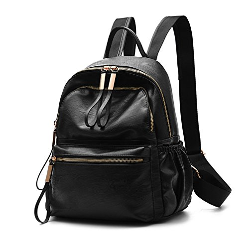 Wraifa Waterproof Oxford PU Leather Small Backpack Purse for Women School Bag for ()