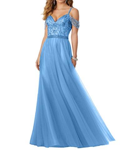 Spitze Charmant Damen Spaghettie Blau Traeger Lang Promkleider Abschlussballkleider Abendkleider Rosa PEHqFxSR