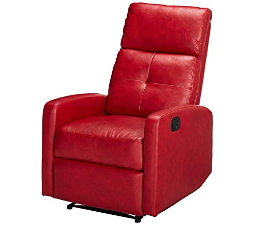 Wood & Style Office Home Furniture Premium Teyana Red Leather Recliner Club Chair