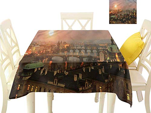 Davishouse Square Polyester Tablecloth Aerial Scenery on Prague Washable Polyester - Great for Buffet Table, Parties, Holiday Dinner, Wedding & More W36 x -