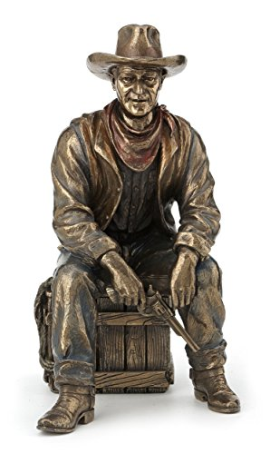 Cowboy Sitting On Crate with Pistol and Lasso Statue